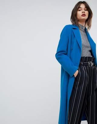 HUGO double breasted oversized coat in cobalt