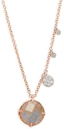 Meira T Women's Labradorite, Diamond and 14K Rose Gold Pendant Necklace