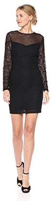 GUESS Women's Lace/Mesh Combo Dress with Sleeves