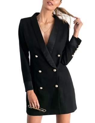 Collins Fashion Women's Autumn Sexy Deep V Neck Dress Long Sleeve Blazers S