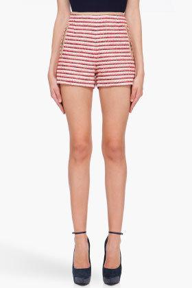 CARVEN Red & Beige Tweed Shorts
