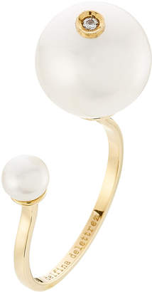 Delfina Delettrez 18kt Yellow Gold Pearl Piercing Ring with Diamond