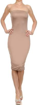 The Lovely Sexy Strapless Slim Fitted Stretch Bodycon Midi Cocktail Dress(, m)
