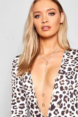 boohoo Circle Plunge Necklace