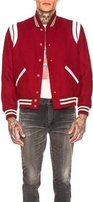 Saint Laurent Teddy Varsity Jacket in Red | FWRD