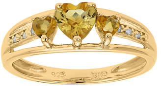 JCPenney FINE JEWELRY Genuine Citrine and Diamond-Accent 3-Stone Heart Ring