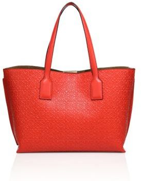 LOEWE Small Logo-Embossed Leather Shopper $1,290 thestylecure.com