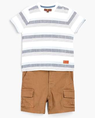 7 For All Mankind Boy's 12M-24M Crew Neck Tee & Cargo in Deep Well