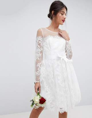 Asos Design BRIDAL Long Sleeve Lace Mini Dress
