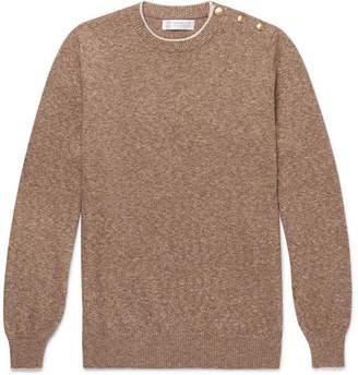 Brunello Cucinelli Button-Trimmed Mélange Cotton Sweater