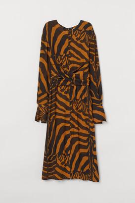 H&M Zebra-striped Dress - Yellow