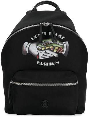 Roberto Cavalli Don't Trust Fashion backpack