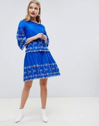 Vero Moda Embroidered Mini Skirt