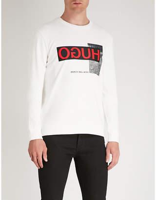 HUGO Logo-print cotton-jersey sweatshirt