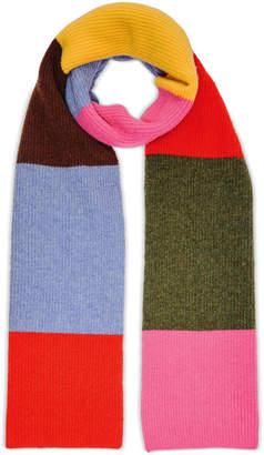 Ganni Ribbed Color-Block Wool-Blend Scarf