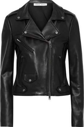 Rebecca Minkoff Jersey-paneled Leather Biker Jacket
