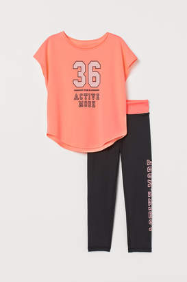 H&M Top and Sports Tights - Pink