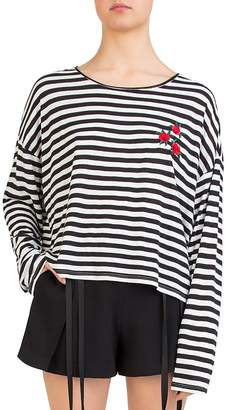 The Kooples Rose-Embroidered Striped Top