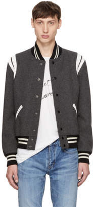 Saint Laurent Grey Teddy Bomber Jacket