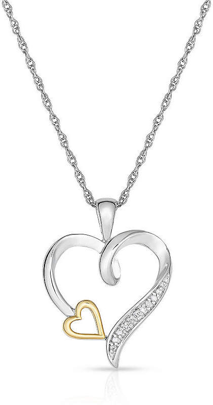 FINE JEWELRY Natalia Drake White Diamond Accent Sterling Silver & 10K Gold Heart Pendant Necklace