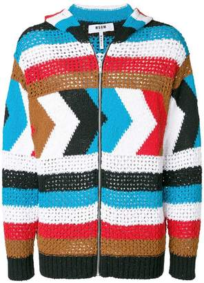 MSGM crochet panel patterned cardigan