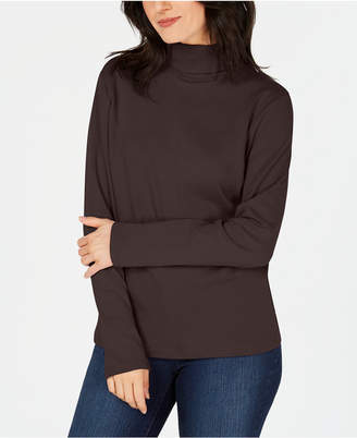 Karen Scott Long-Sleeve Cotton Turtleneck