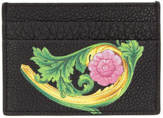 Versace Black Floral Card Holder