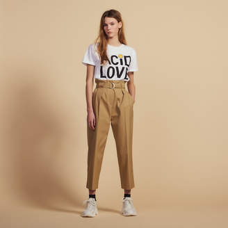 Sandro Belted High-Waisted Pants