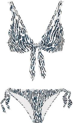 Marios Schwab On The Island By Los Roques Leopard-print Bikini - Blue