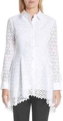 Lela Rose Cotton & Silk Lace Flare Hem Blouse