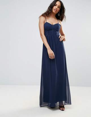 BCBGMAXAZRIA Navy Strappy Maxi Evening Dress