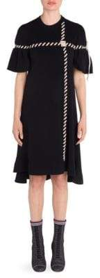 Fendi Stitch Rib-Knit Bell-Sleeve Dress