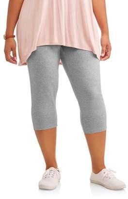 Terra & Sky Women's Plus Essential Knit Capri Leggings