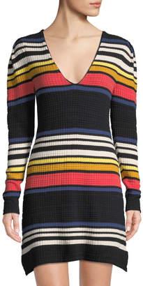 Free People Striped V-Neck Waffle-Knit Dress