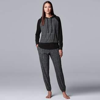 Vera Wang Women's Simply Vera Velour Hooded Top & Pajama Pants Set