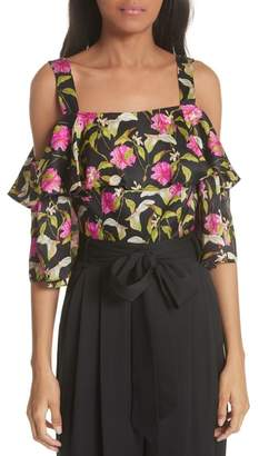 Milly Calla Lily Cold Shoulder Silk Blouse