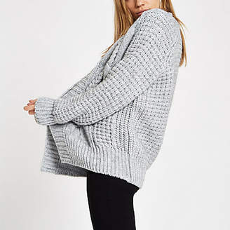 River Island Grey cable knit cardigan