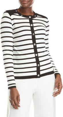 August Silk Striped Snap Front Cardigan