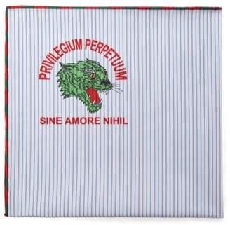 Gucci Tiger Print Cotton Pocket Square - Mens - White Multi
