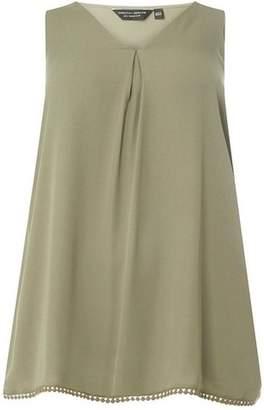 Dorothy Perkins Womens **DP Curve Khaki Pom Pom Camisole Top
