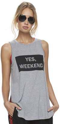 "Madden NYC Juniors' ""Yes Weekend"" Graphic Muscle Tank $28 thestylecure.com"