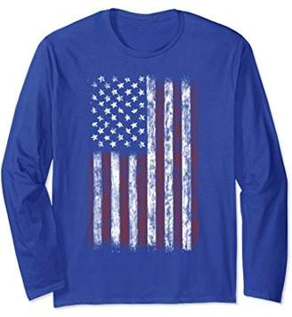 Vintage American Flag Long Sleeve Shirt Men USA Flag T-Shirt