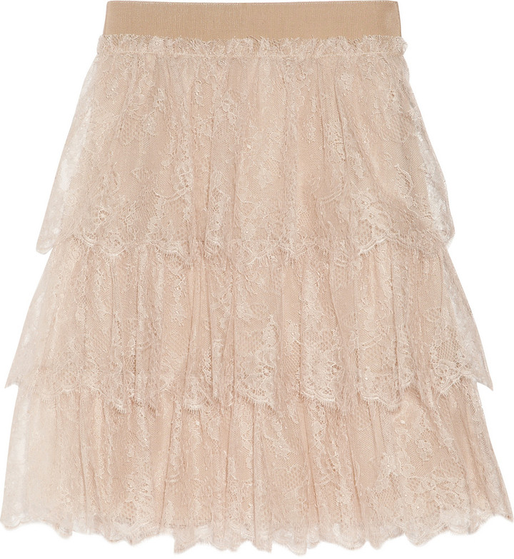Valentino Tiered lace mini skirt