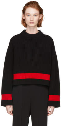 Alexander McQueen Black Striped Crewneck Sweater