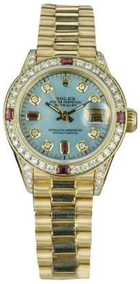Rolex Datejust 6917 18K Yellow Gold with Sky Blue Mother of Pearl Dial Vintage 26mm Womens Watch