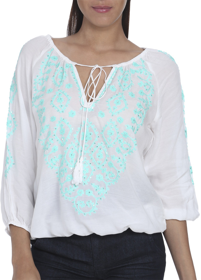 Arden B 3/4 Sleeve Embroided Blouse