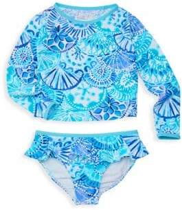 Lilly Pulitzer Little Girl's& Girl's Print UPF 50+ Rashguard& Swim Bottom Set
