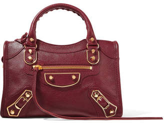 Balenciaga - Metallic Edge City Mini Textured-leather Tote - Burgundy $1,595 thestylecure.com