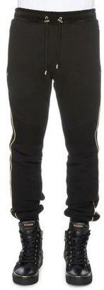 Balmain Cotton Sweatpants w/Metallic Piping, Black $990 thestylecure.com