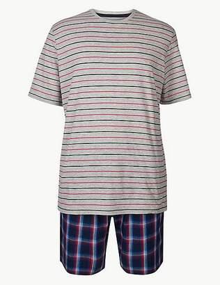 Marks and Spencer Pure Cotton Check & Stripe Pyjama Shorts Set